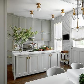 White And Gold Flush Mount Kitchen Lighting Design Ideas