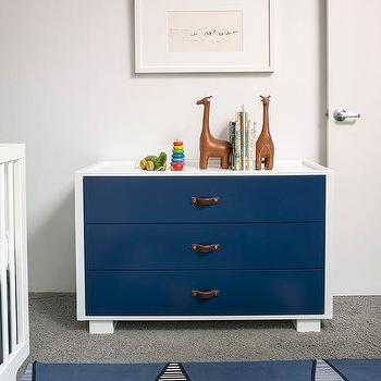 White And Navy Nursery Dresser With Leather Straps View Full Size Contemporary Blue Boy S