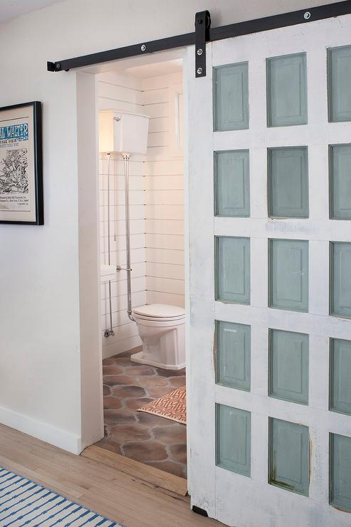 Powder Room With Distressed Barn Door Vintage Bathroom