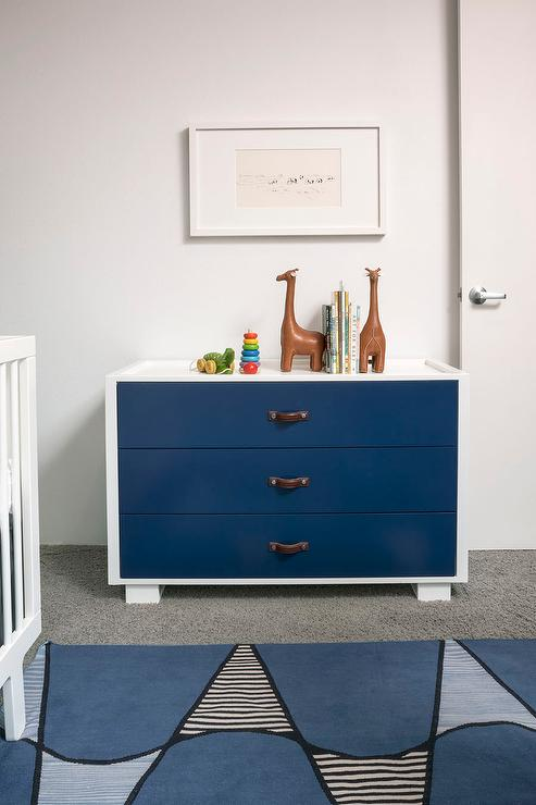 White And Navy Nursery Dresser With Leather Straps