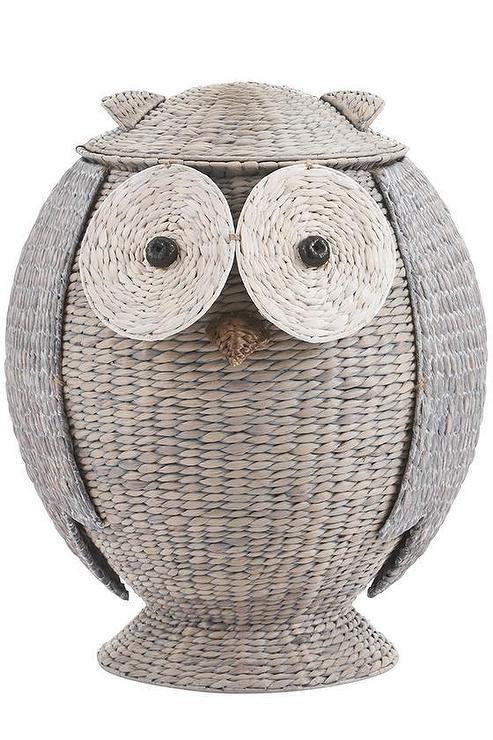 Owl Hamper In Grey