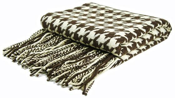 Houndstooth Cashmere Blend Throw In Brown And Cream Magnificent Black And White Houndstooth Throw Blanket