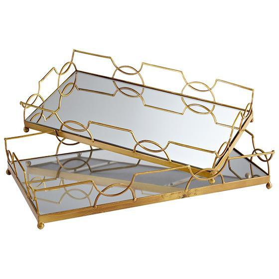 Mirrored Hexagonal Trays Set of 2 in Gold