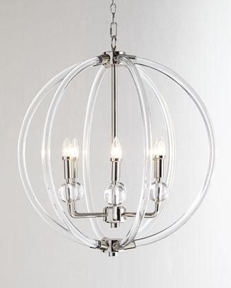 Silver six light pendant in silver lucite silver six light pendant in clear aloadofball Gallery