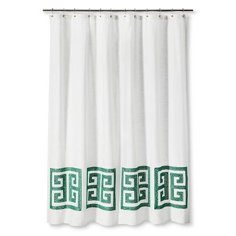 Threshold Green Greek Key Shower Curtain In White