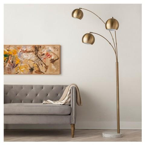 Globe arc floor lamp in brass 3 globe arc floor lamp in brass mozeypictures Choice Image