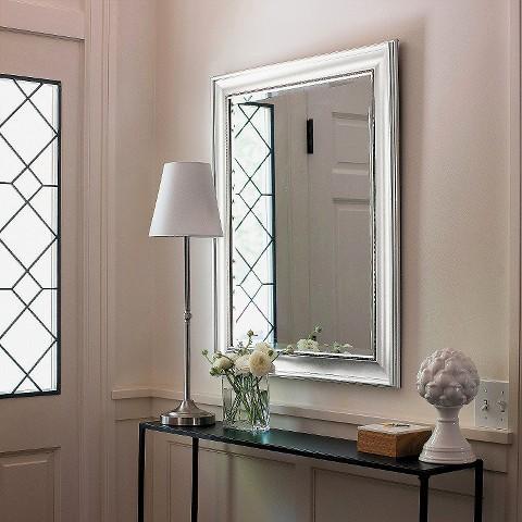 Silver beaded frame mirror