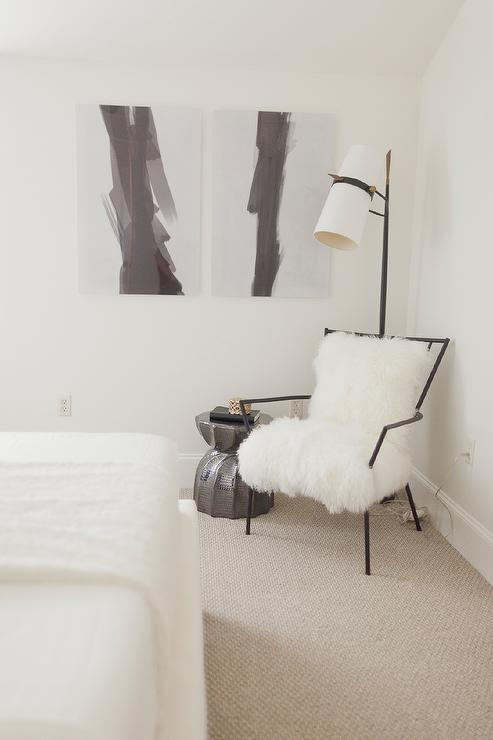 Attractive Black And White Bedroom Reading Corner