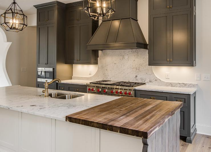 Gray Kitchen Island With Butcher Block : Gray Shaker Cabinets with White Kitchen Island - Mediterranean - Kitchen