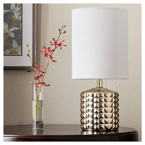 Gold Plated Geometric Ceramic Table Lamp