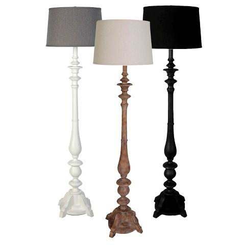 Threshold Washed Wood Double Socket Floor Lamp In Various Color Options