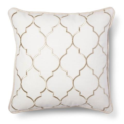 Decorative Pillows White And Gold : Threshold Gold Embroidered Fret Decorative Pillow