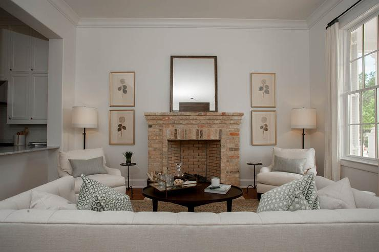 Red Brick Living Room Fireplace Design Ideas