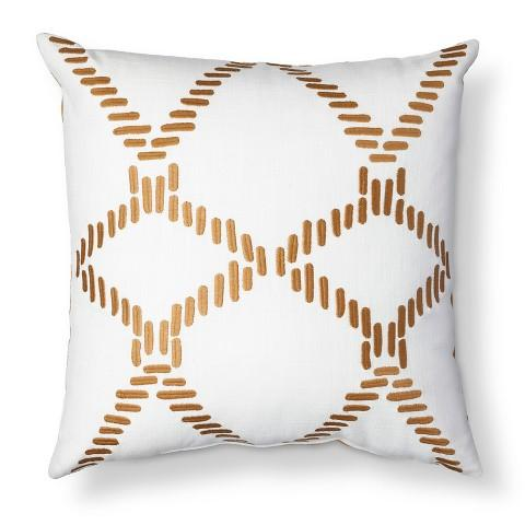 Square Geometric Pillow New White And Gold Decorative Pillows