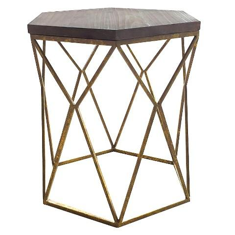 Wood And Gold Threshold Hexagon Accent Table