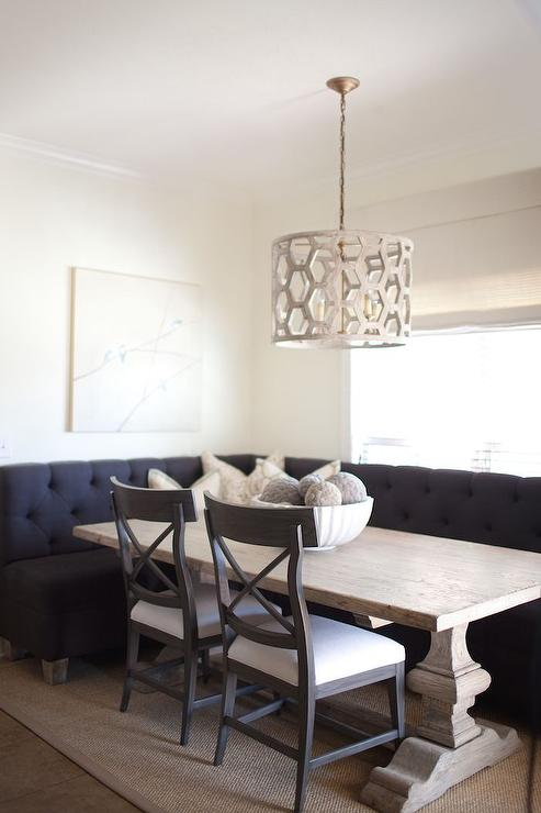 L Shaped Dining Banquette with Square Dining Table - Transitional ...