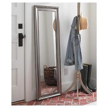 Metal Silver Oval Floor Mirror