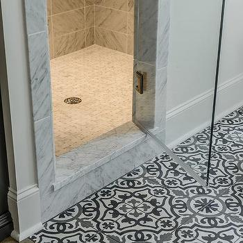 Ordinaire Black And White Mediterranean Mosaic Bathroom Floor Tiles