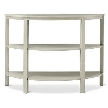 White parsons console table White demilune console table