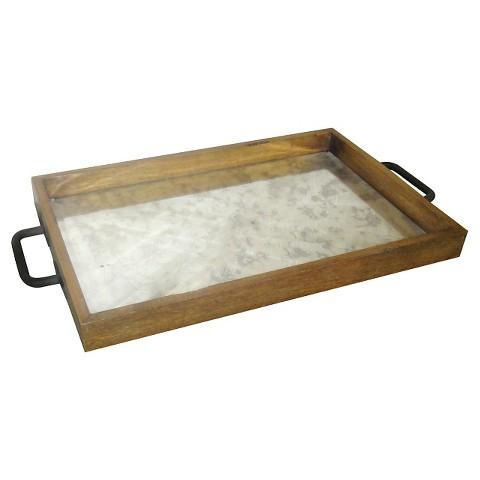 Brand-new Mercury Glass Tray in Wood IL32