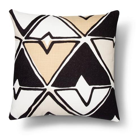 Square Abstract Diamond Pillow In Black And White