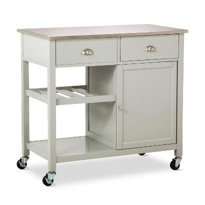 stainless steel kitchen island on wheels threshold stainless steel top kitchen island in gray 27553