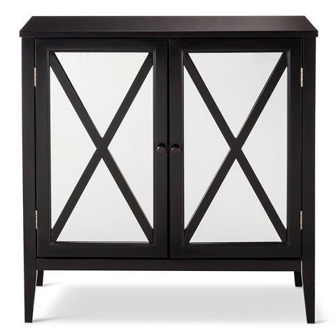 Threshold Wooddale Two Door Mirrored Black Cabinet