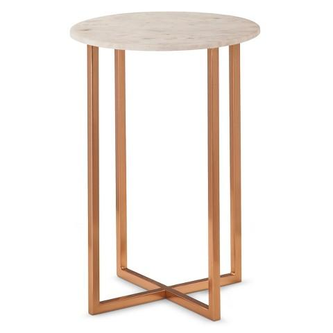 White marble accent table for White end table