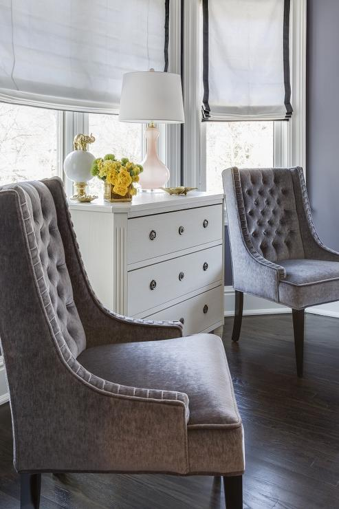 White french dresser with pink glass lamp transitional for Bay window bedroom ideas