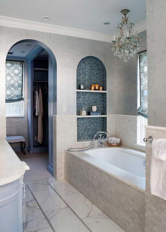 Arched Tiled Niche Over Tub Contemporary Bathroom