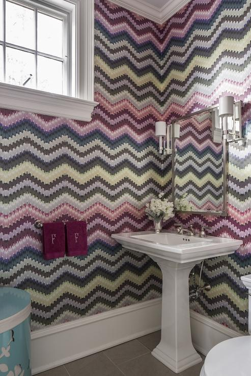 Powder Room With Missoni Wallpaper Contemporary Bathroom