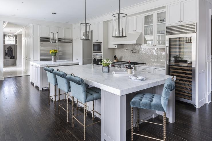 Swell Gray Kitchen Island With Blue Velvet Tufted Counter Stools Ibusinesslaw Wood Chair Design Ideas Ibusinesslaworg