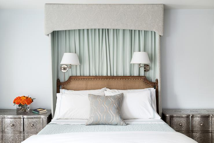 Curtains Behind Headboard Design Ideas