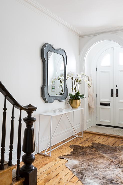 Gray Foyer Mirror Over White Console Table Contemporary