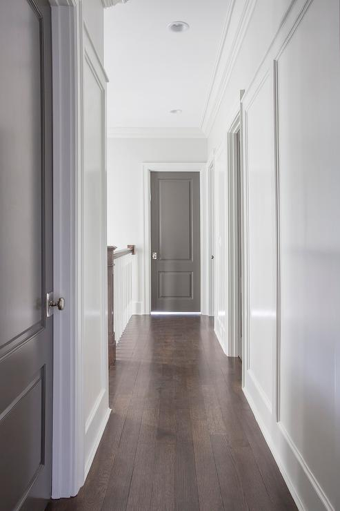 White walls with gray doors contemporary entrance foyer Grey interior walls