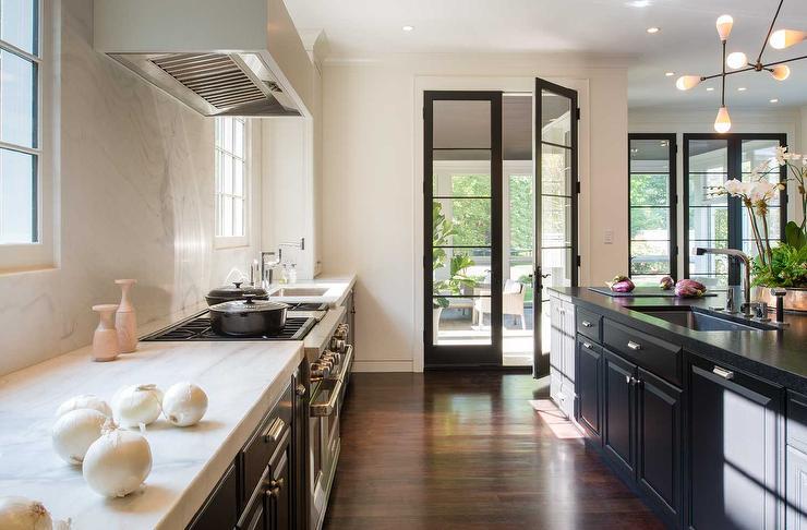 Kitchen Cabinets Next To Window tuxedo kitchen cabinets design ideas