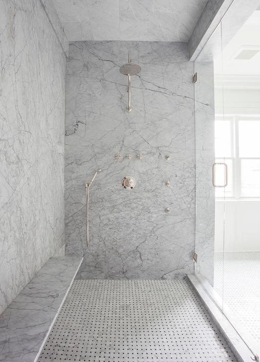Beautiful Gray Marble Slab Shower Surround with Long Floating Shower Bench  TI87