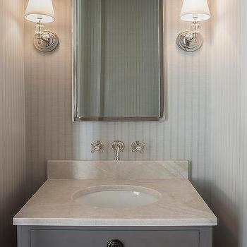 Gray Powder Room With Maison Single Vanity Sink