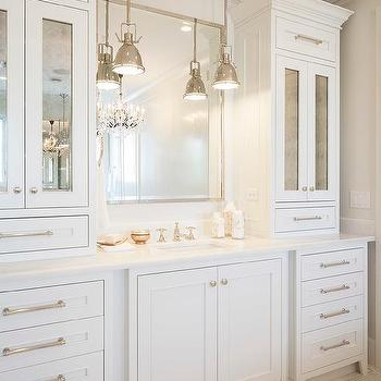 all white master bathroom with chandelier over tub Mirrored Bathroom Vanity Cabinets Revit Bathroom Vanity with Mirrored Doors