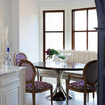 Curved Banquette Oval Dining Table Design Ideas - Curved banquette seating for dining room