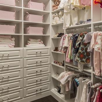 White And Pink Nursery Closet Design
