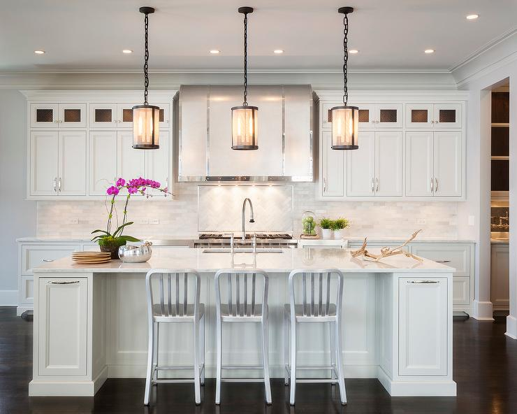 Kitchen Island With Riveted Mesh Pendant Transitional