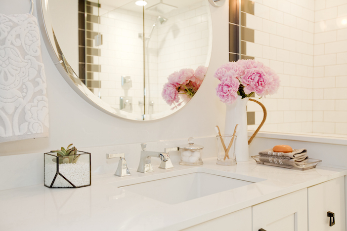 Bronze framed rectangle and round mirror for Romantic bathroom designs