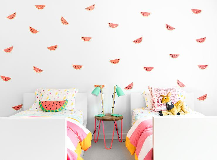 Contemporary Pink And Yellow Girls; Bedroom Features A White Wall Clad In  Urban Walls Watermelon Wall Decals Lined With A Pair Of White Lacquer Twin  Beds ...