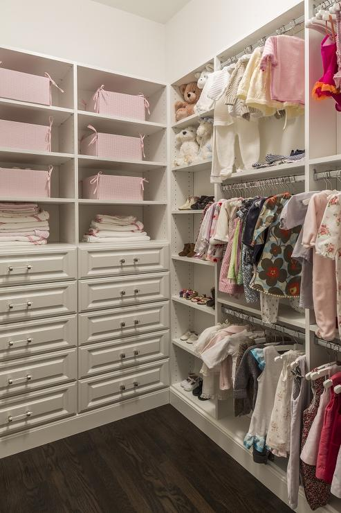 White And Pink Nursery Closet Design