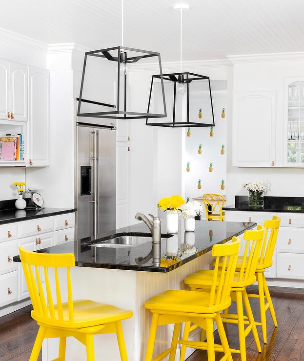 White Kitchen Orange Accents yellow kitchen accents design ideas