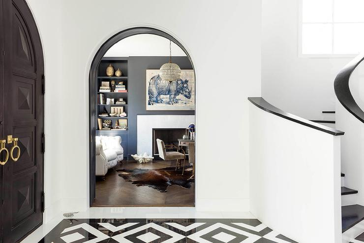 open arched double doors. Arched Black Front Doors With And White Tiled Floor Open Double