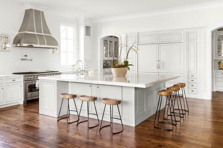 Oversized Kitchen Island with Smart and Sleek Stools - Transitional ...