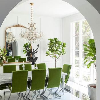 Green Velvet Dining Chairs With Marble Table