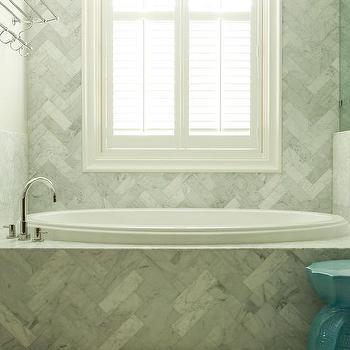 Marble Herringbone Tiled Tub. Marble Tub Surround Design Ideas